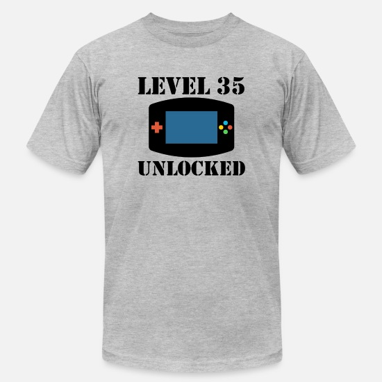 Birthday T-Shirts - Level 35 Unlocked Video Games 35th Birthday - Men's Jersey T-Shirt heather gray