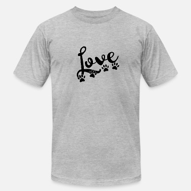 love typography with 4 dog paw prints - Unisex Jersey T-Shirt