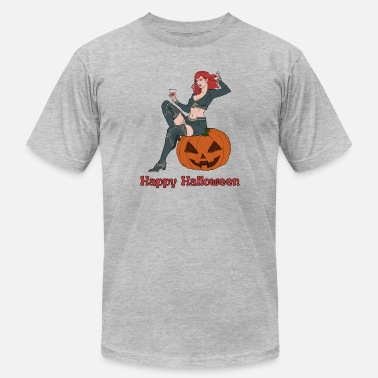 Sexy Halloween Women Vampire Sitting on a Pumpkin - Men's  Jersey T-Shirt