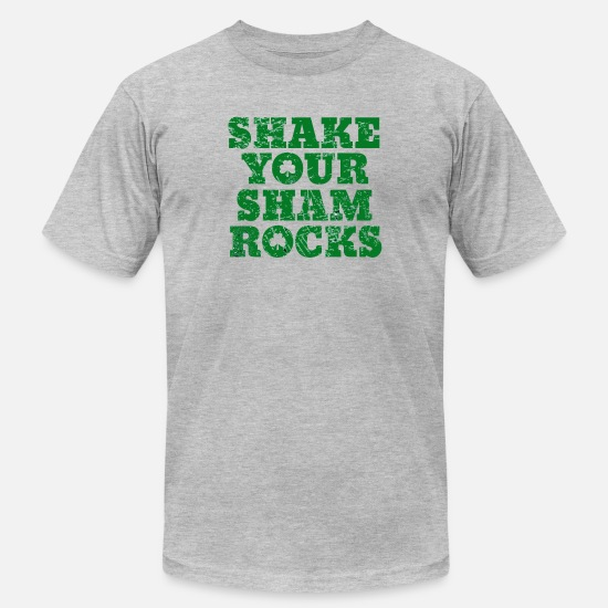 Drinking T-Shirts - Shake Your Shamrocks Green Irish Distressed St - Unisex Jersey T-Shirt heather gray