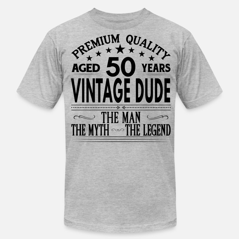 """50th Age Birthday Gift"" T-Shirts - VINTAGE DUDE AGED 50 YEARS - Men's Jersey T-Shirt heather gray"