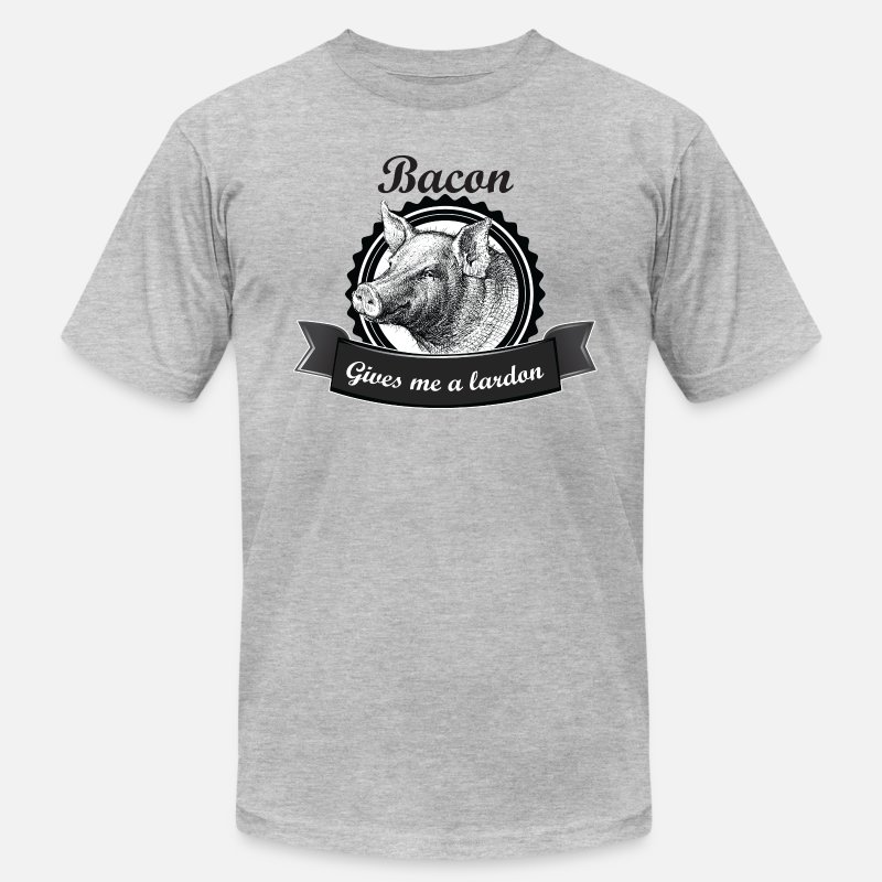 Funny T-Shirts - Bacon Gives me a Lardon - Men's Jersey T-Shirt heather gray