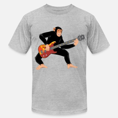 Funky Bass Monkey with bass guitar - Men's Fine Jersey T-Shirt
