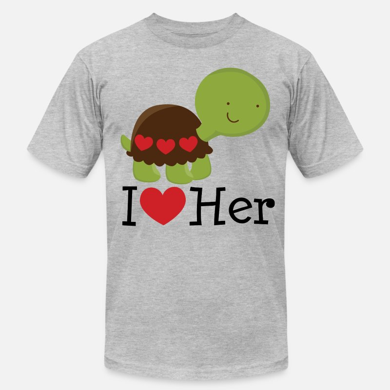 Couples T-Shirts - I Love Her Turtle Dating Gift - Men's Jersey T-Shirt heather gray