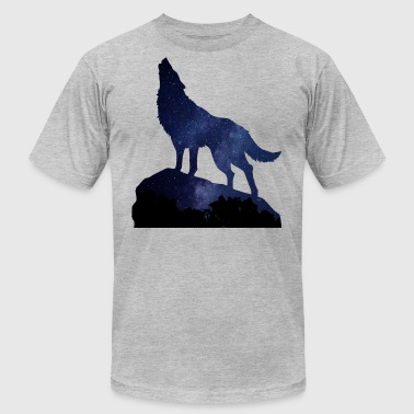 Night Sky Wolf Howling Night - Men's Fine Jersey T-Shirt