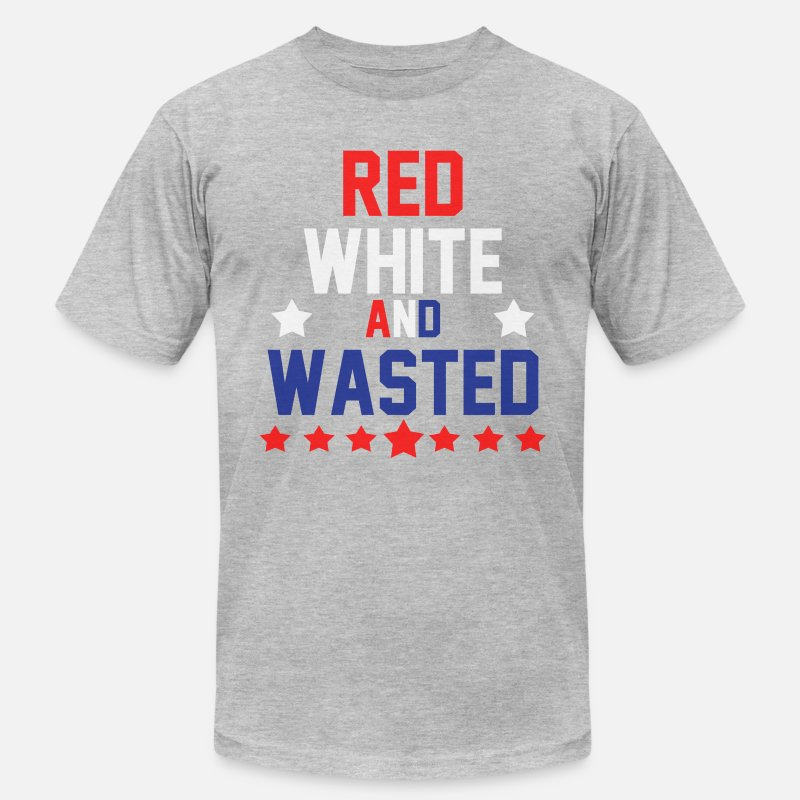 America T-Shirts - Red White & Wasted - Men's Jersey T-Shirt heather gray
