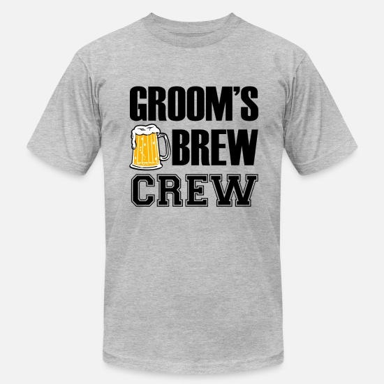 Brew T-Shirts - Groom's Brew Crew funny groomsmen bachelor party  - Men's Jersey T-Shirt heather gray