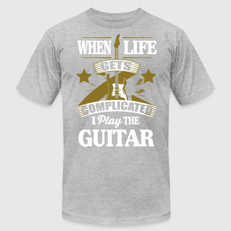 When life gets complicated play guitar - Men's Fine Jersey T-Shirt