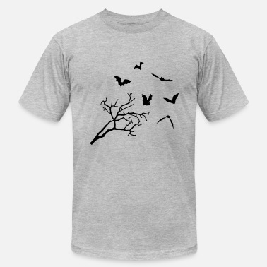 Bats Bats & Tree, Bat Horror - Men's Fine Jersey T-Shirt