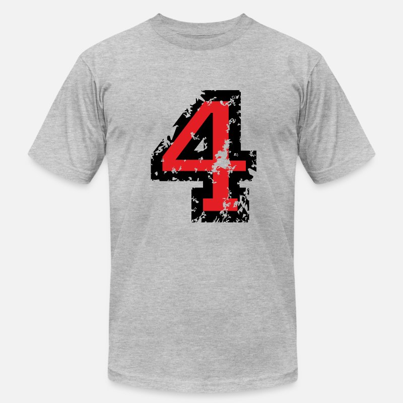 Number T-Shirts - The Number Four - No. 4 (two-color) red - Men's Jersey T-Shirt heather gray