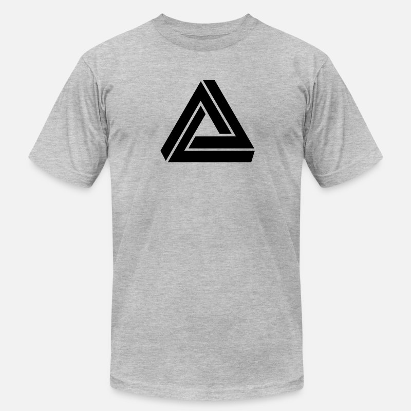 Impossible Triangle Optical T-Shirts - Triangle mathematical Escher endless knot infinity - Men's Jersey T-Shirt heather gray