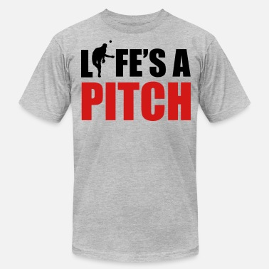 Baseball Sayings Life's a pitch - Men's Fine Jersey T-Shirt