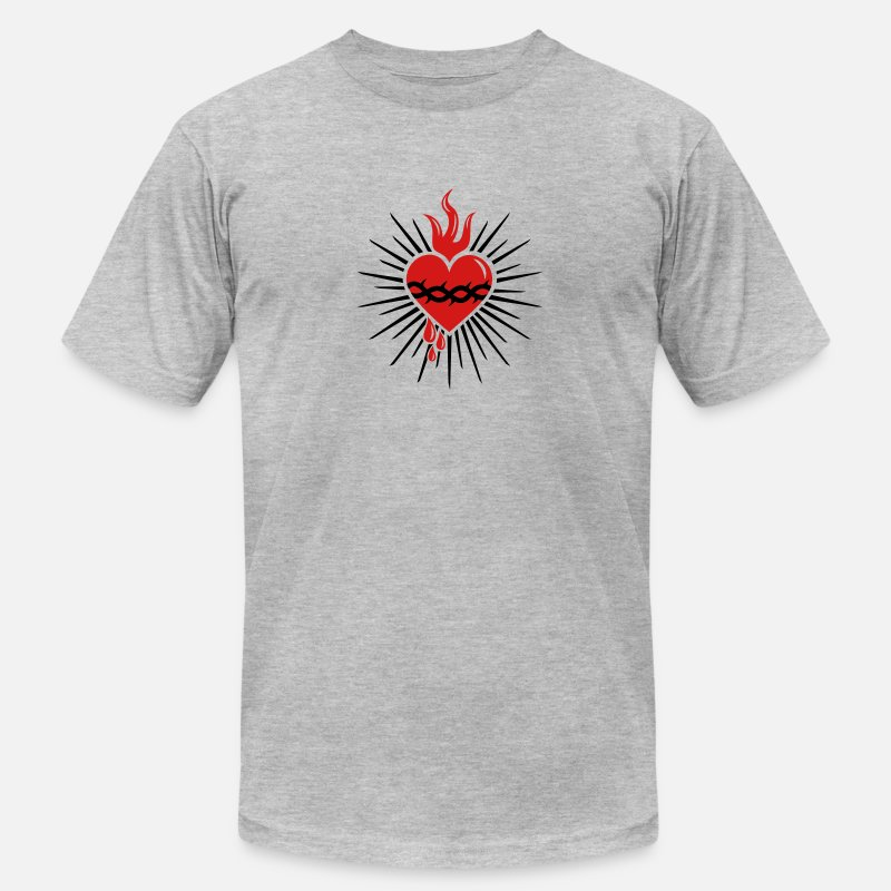 Heart T-Shirts - Sacred Heart of Jesus -  Christ Consciousness - Men's Jersey T-Shirt heather gray