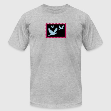 flying doves on a stamp - Men's T-Shirt by American Apparel