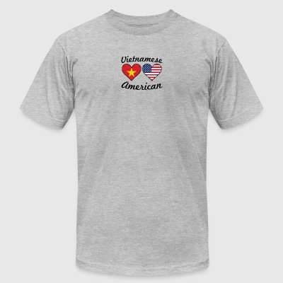 Vietnamese American Flag Hearts - Men's T-Shirt by American Apparel