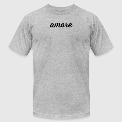 Amore - Cursive Design (Black Letters) - Men's T-Shirt by American Apparel