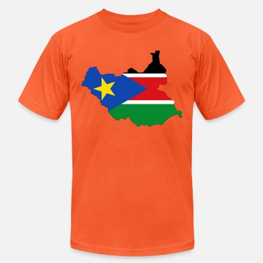 Sudan South Sudan Flag Map With Stroke - Unisex Jersey T-Shirt