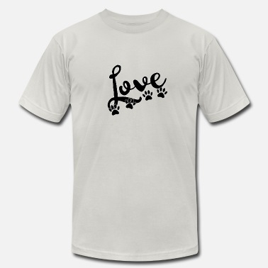 love typography with 4 dog paw prints - Men's Jersey T-Shirt