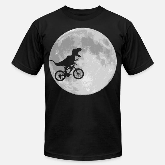 Dinosaur T-Shirts - Dinosaur Bike and MOON - Unisex Jersey T-Shirt black