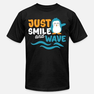 Wave Penguin Just Smile And Wave Seabird Cool Gift - Men's Jersey T-Shirt
