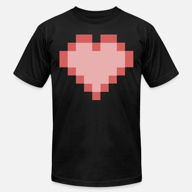 Pixelland pixel heart red gaming retro - Men's  Jersey T-Shirt