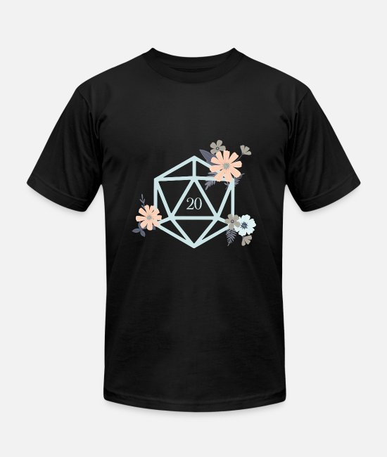 Board Game T-Shirts - Flowers and Plants Polyhedral D20 Dice - Unisex Jersey T-Shirt black