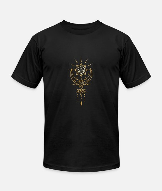 Board Game T-Shirts - Druid's D20 Dice Sacred Geometry - Unisex Jersey T-Shirt black