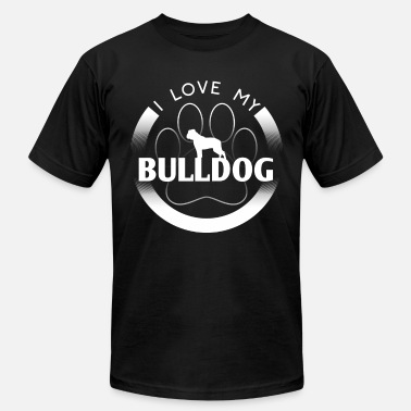 American Bulldog Mom Funny Bulldog Design I Love My Bulldog Circle Paw Simple Logo Dog Silhouette - Men's Jersey T-Shirt