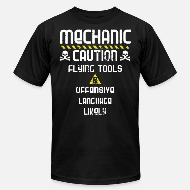 Offensive Languages mechanic caution flying tools offensive language l - Men's  Jersey T-Shirt