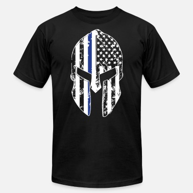 Thin Blue Line Spartan Mask American Flag Cops Pol - Men's Jersey T-Shirt