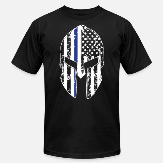 Girlfriend T-Shirts - Thin Blue Line Spartan Mask American Flag Cops Pol - Men's Jersey T-Shirt black