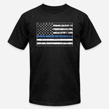 Blue thin line distressed american Flag, Police - Men's Jersey T-Shirt