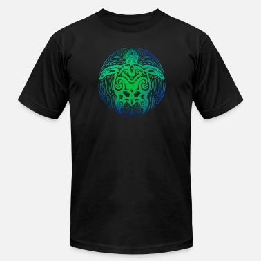 Hawaiian Turtle Ocean Blue Tribal Shirt Hawaiian Sea Turtle - Men's  Jersey T-Shirt