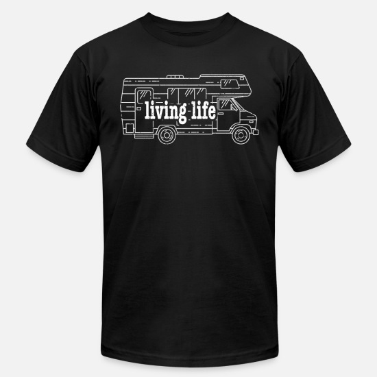 Retired T-Shirts - Living Life RV Camping Hiking Retirement - Unisex Jersey T-Shirt black