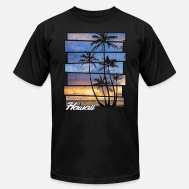Retro Hawaiian Hawaii Beach Hawaiian Sunset Retro Photo Island - Men's  Jersey T-Shirt