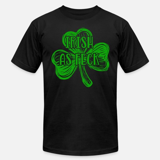 Feck T-Shirts - Irish as Feck green - Men's Jersey T-Shirt black