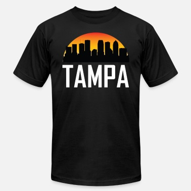 Tampa Sunset Skyline Silhouette of Tampa FL - Men's Jersey T-Shirt