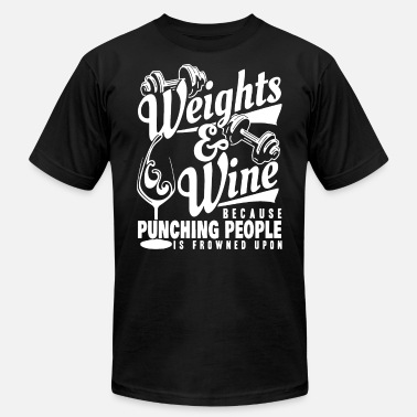 Murph Crossfit Weights And Wine because punching people is frowne - Men's  Jersey T-Shirt