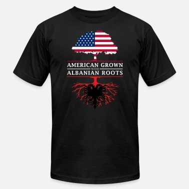 Albania Roots American Grown with Albanian Roots Albania Design - Men's Fine Jersey T-Shirt