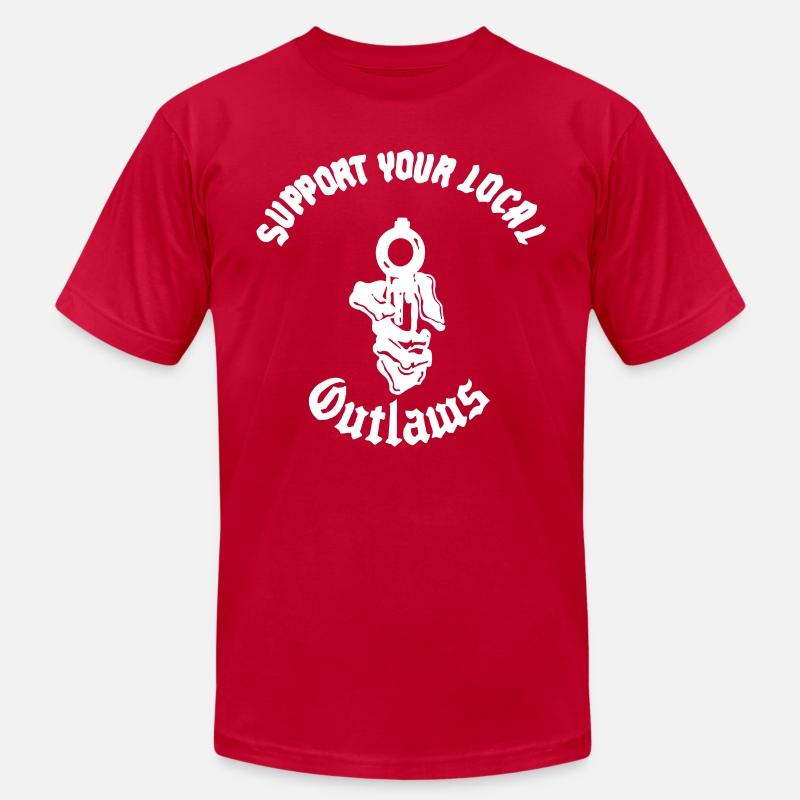 Outlaws MC SYLO AOA Hand Gun Support Men's Jersey T-Shirt - red