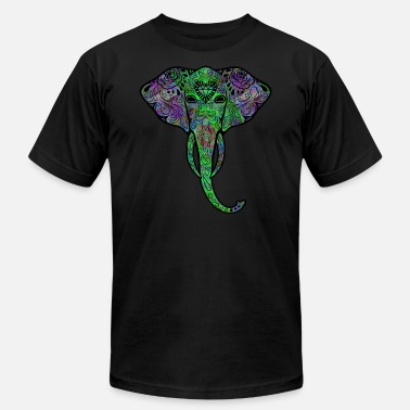 Surreal Psychedelic Elephant Sugar Skull Surreal Trippy - Unisex Jersey T-Shirt