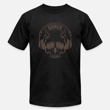 Mouse Gamer Skull with horns and headset - Unisex Jersey T-Shirt