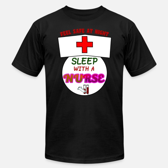 Cute T-Shirts - Funny Feel Safe At Night, Sleep With A Nurse RN - Men's Jersey T-Shirt black