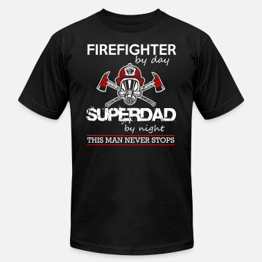Firefighter Dad firefighter by day super dad - Men's  Jersey T-Shirt