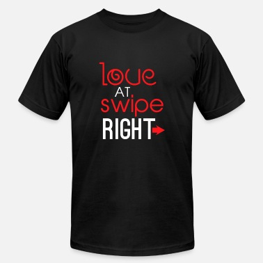 Online Dating Love At Swipe Right Funny Online Dating - Men's  Jersey T-Shirt