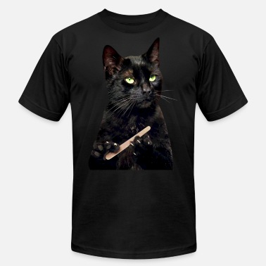 Nailed It Meme Nonplussed Black Cat Filing Nails - Men's  Jersey T-Shirt