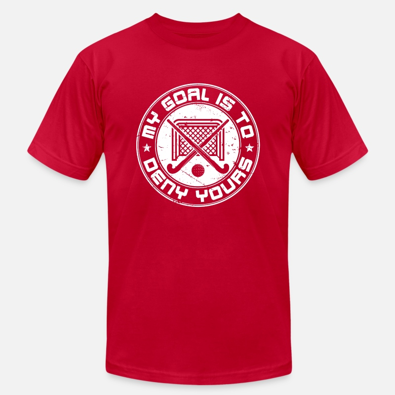 meet ea00a 22502 Field Hockey Goalie My Goal Is To Deny Yours Men's Jersey T-Shirt - red