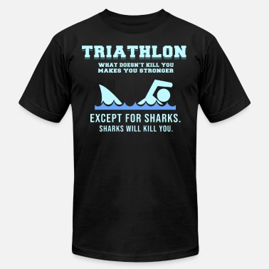 Sport Event triathlete sports event shark funny gift idea - Men's  Jersey T-Shirt