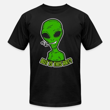 Art Critic Funny Smoking Alien But is It Art Critic Reviewer - Men's Fine Jersey T-Shirt
