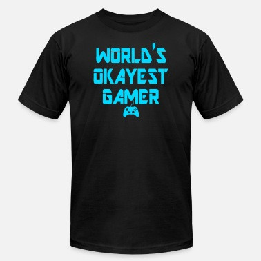 World s Okayest Gamer Funny Gaming - Men's  Jersey T-Shirt